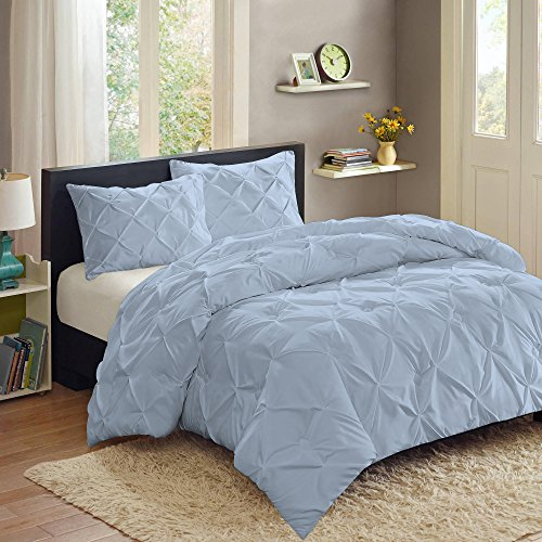 Sweet Home Collection  3 Piece Luxury Pinch Pleat Pintuck Fashion Duvet Set,Aqua,King