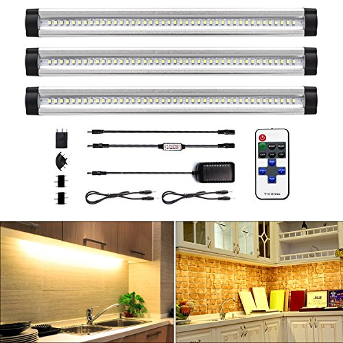 ALOTOA Dimmable LED Under Cabinet Lighting, 3 Pack 4W 3000K 1100LM LED  Closet Lighting With Remote Control, Ultra Thin Under Counter Lighting  (Warm White)