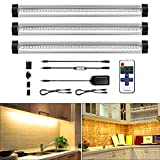 LED Under Cabinet Light Bar, ALOTOA Dimmable Under Counter Kitchen Lighting, Remote Control, 4 W/Panels, 1100 Lm, Warm White 3000K, 3 Panels Kit