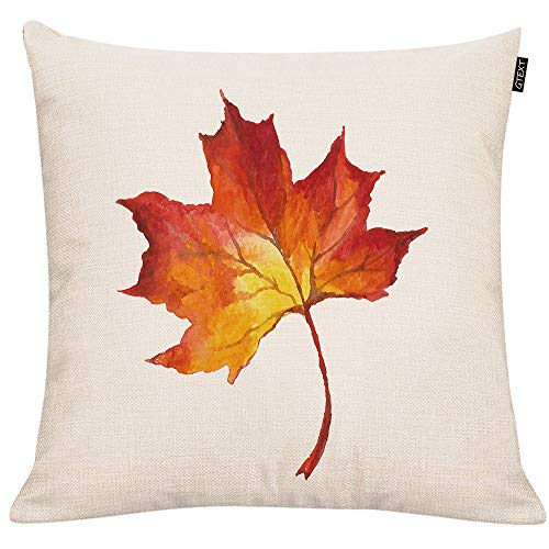 - Maple Leaf Throw Pillow Cover Fall Leaf Pillow Cuhion Cover Case for Couch Sofa Thanksgiving Decor Pillow Fall Pillows Linen 18 X 18 Inches
