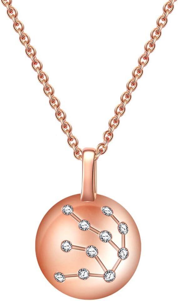 Colgantes de Piedra de Natural Collar rosa de cristal 925 Constelación del horóscopo del acuario Astrología collar 12 Constelación muestra del horóscopo collar de regalos de cumpleaños de la astrologí