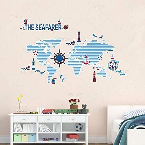 guijiumai Blue Style Weltkarte & Seafarer Theme Wallpaper Moderne Kinderzimmer Abziehbilder PVC Hochwertige Wandaufkleber Wohnzimmer Paster Dekoration 52x84cm