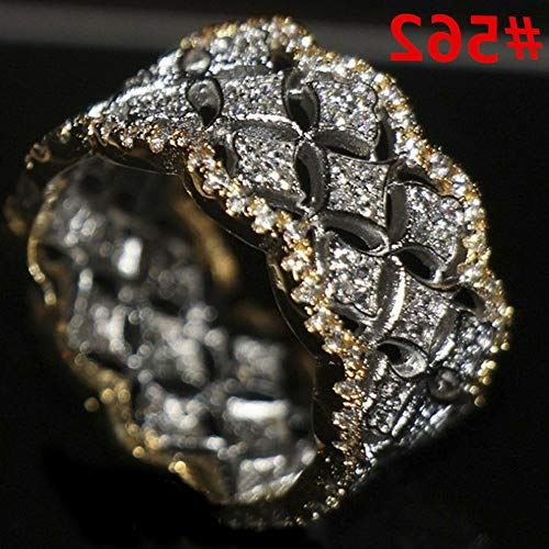 (Dokis Fashion Women White Gold Plated Crystal Rhinestone Engagement Wedding Rings Gift | Model RNG - 4294 | 8)
