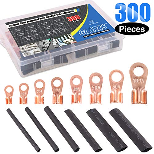 - Glarks 300Pcs Open Barrel Wire Crimp Copper Ring Lugs Wire Crimp Terminal Connectors OT 5A 10A 20A 30A 40A 50A 60A 100A with Heat Shrink Tubing Assortment Kit for Auto Car Battery Cable Connector