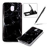 Soft Case for Samsung Galaxy J3 2018,Anti Scratch Cover for Samsung Galaxy J3 2018,Herzzer Stylish Pretty Black Marble Stone Pattern TPU Bumper Flexible Shock Scratch Resist Rubber Case