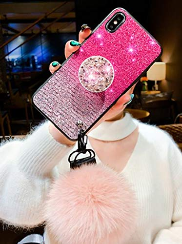 Lozeguyc iPhone 8 Plus Bling Marble Kickstand Case,iPhone 7 Plus Luxury Soft Hard Back Case Shiny Glass Shockproof Ring Stand Cover for iPhone 8 Plus 5.5 Inch-Pink ()