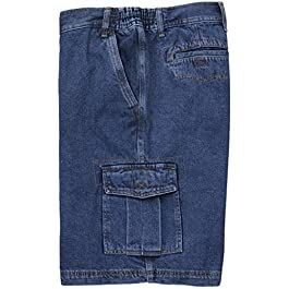 FB Big Men's Denim Cargo Shorts with Expandable Waistband