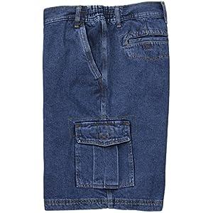 FB Big Men's Denim Cargo Shorts with Expandable Waistband