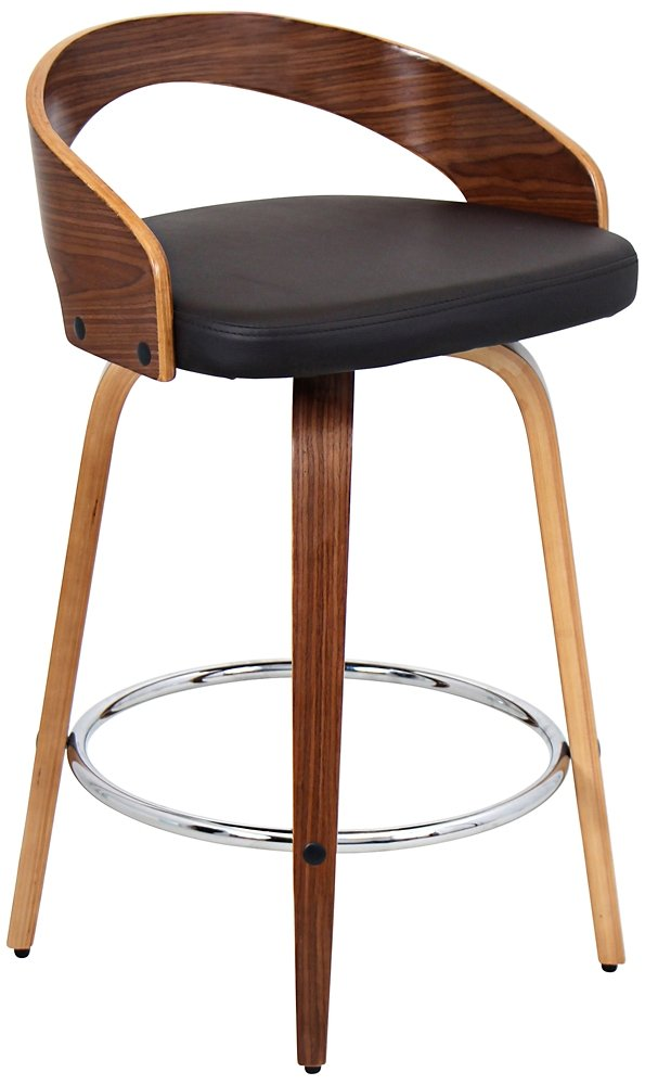 amazoncom woybr csjygrt wlbn wood pu leather grotto counter stool kitchen u0026 dining - Amazon Bar Stools