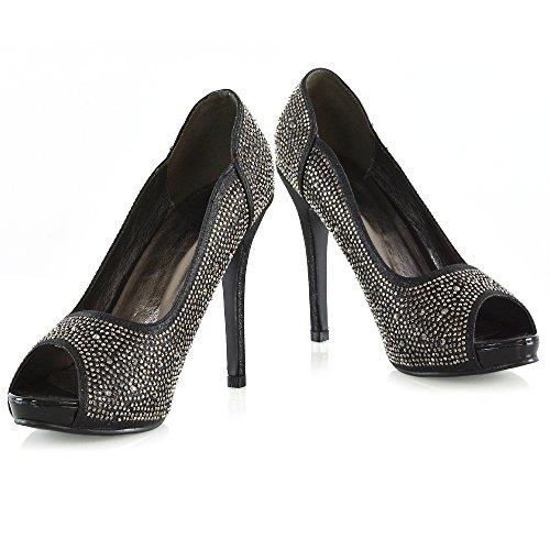 Essex Glam Kvinners Peep Toe Hæler Diamante Plattform Stiletto Hæl Elegante Pumpe Sko Svart Glitter