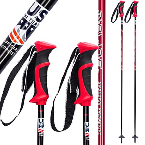 Zipline Ski Poles Carbon Composite Graphite Lollipop U.S. Ski Team Official Ski Pole - Choose from 6 Color and 9 Size (Cherry Red, 42 in. / 107 cm)
