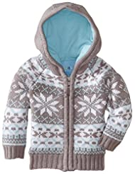 Wippette Little Boys' Nordic Snowflake Winter Cardigan Sweater, Grey, 4T