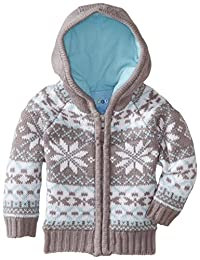 Wippette Little Boys' Nordic Snowflake Front Zip Winter Cardigan Sweater, Grey, 4T