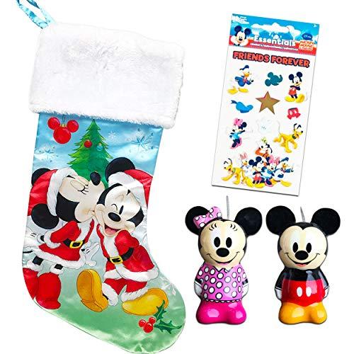 Grupo Ruz Disney Mickey Mouse and Minnie Mouse Christmas Stocking Stuffer Kit ~ Bundle Includes Deluxe Mickey Stocking, Mickey and Minnie Ornaments, and Stickers (Mickey Mouse Christmas Decorations)