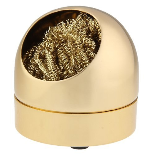 Soldering Iron Cleaner - SODIAL(R)solder tip cleaner iron metal sponge sponge Gold color New