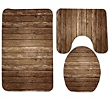 FZFZFZ 3 Piece Bath Rug Set Creative Antique Wood Pattern Printing Bathroom Rug large Contour Mat with Lid Cover, 6