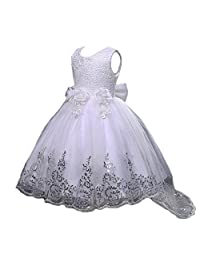 JiaDuo Girls Sequin Lace Tulle Dress Bow Princess Party Flower Gown