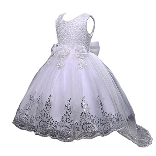 White Dress Princess (JiaDuo Girls Sequin Lace Tulle Dress Bow Princess Party Flower Gown Ivory)