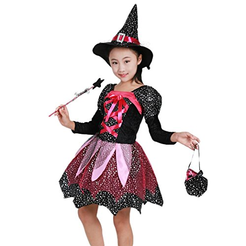 Witch Cloth Doll - Toddler Baby Girls 4Pcs Clothes Sets for 4-15 Year,Halloween Witch Anime Dance Performance Skirt Hat Magic Wand Bag Outfits (8-9T, Black)