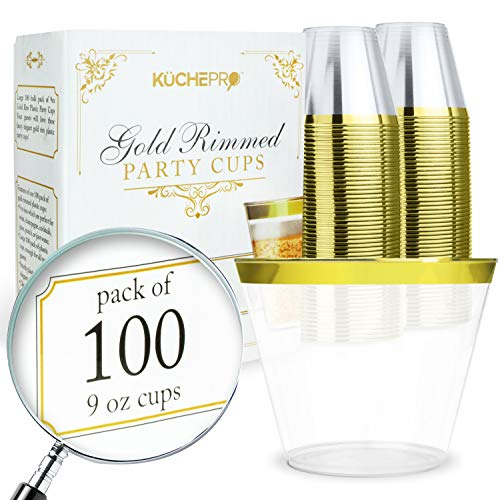100 Pack 9oz Gold Rim Clear Plastic Cups - Disposable Plastic Wine Glasses for Parties, Birthdays, Fancy Cups for Kids, Bridal Showers, Fancy Cups for Wedding and Other Holiday Plastic Cups