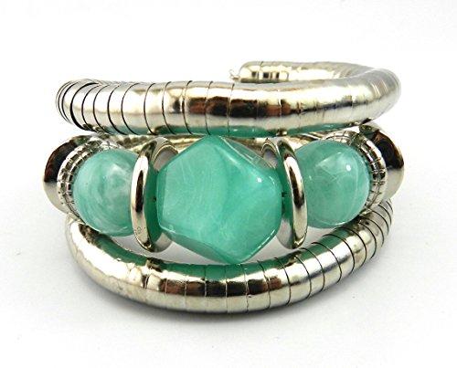 3 Stone Green Bracelet (GVUSMIL Resin Bead Jade Multilayer Wrap Width Cuff Bracelet (03))