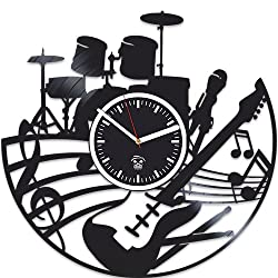 Kovides Guitar Vinyl Wall Clock, Rock Music, Drums Vinyl Record Clock, Best Gift For Musician, Gift For Man And Woman, Rock Music, Silent, Home Decor, Valentines Day Gift, Wall Art Sticker