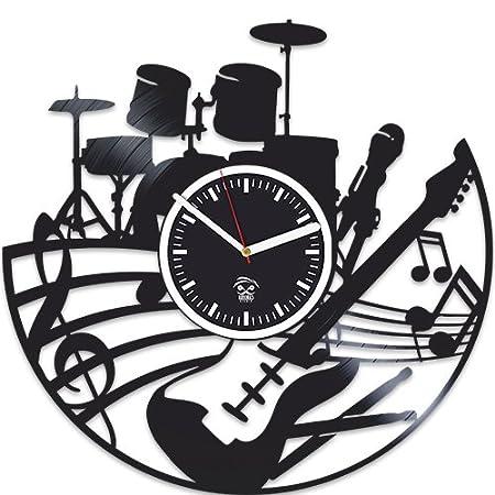 Amazon.com: Kovides - Reloj de pared de vinilo para guitarra ...