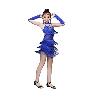 0aaf3e28cfd6 Yefree Sequin Fringe Blue Pink Red Salsa Dress Child Girls Kids Latin  Dresses Girls Latin Dance Costumes: Amazon.co.uk: Clothing