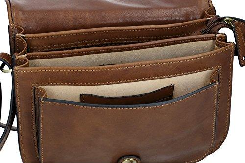 VN2444 vrai à rabat PAM cuir Sac brun femme SHOP bandoulière en ancien PxSqR