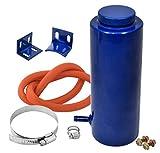 "Universal 7.5"" x 3"" Cylinder Blue Aluminum Engine Radiator Overflow Reservoir Tank"