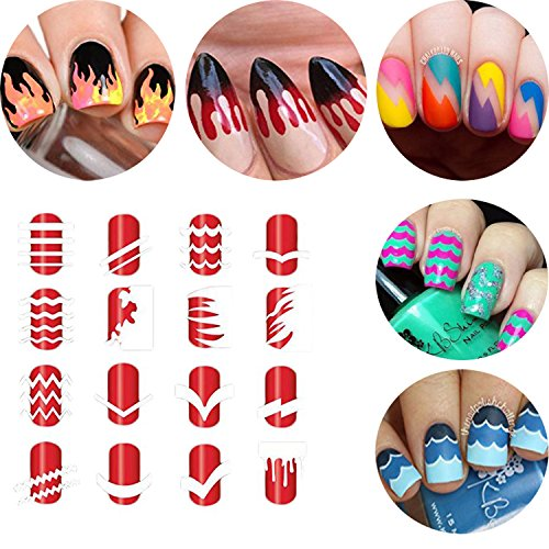 Nail art stencils amazon btartbox 12 packs over 36 different designs tip guide nail vinyl self adhesive nail stencil sticker easy nail art set for finger or toe prinsesfo Image collections