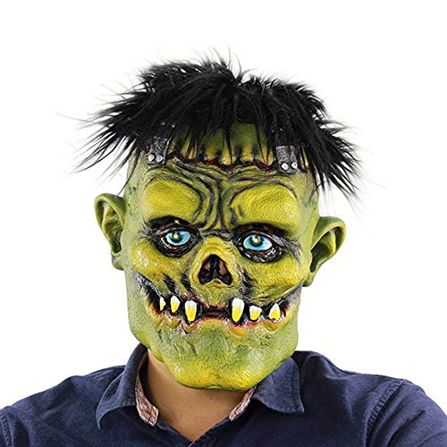 (Wetietir Festival Mask Scary Brunette Green Face Monster Head Cover Halloween Latex Ghost Mask mask Costume)