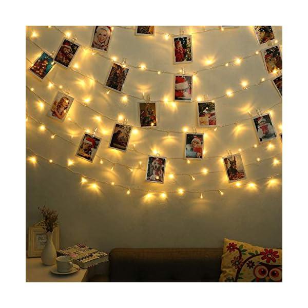 Qedertek Catena Luminosa, Cavo trasparente, Luci Stringa 23 Metri 200 LED, Addobbi Natalizi per Albero di Natale, Luce Natalizie per Decorazione Interno (Bianca Calda) 4 spesavip