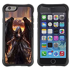 BullDog Case@ Angel Death Drawing Black Wings Witch Rugged Hybrid Armor Slim Protection Case Cover Shell For iphone 6 6S CASE Cover ,iphone 6 4.7 case,iphone 6 cover ,Cases for iphone 6S 4.7