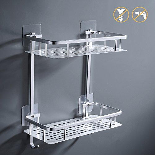 KES 2-Tier Bathroom Shelf No Drill Rectangle Shower Caddy Organizer Aluminum Without Drilling Screw Free Wall Mount Anodized, A4028BDF by Kes