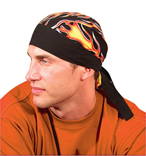 24PCK-Tie Hat Doo Rag W/ FR Treatment - FLAMES-One-Size by Occunomix