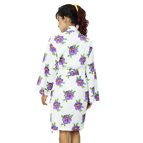Túnicas kimono de algodón indio cruce del traje de dama regalo Preparándose White-1