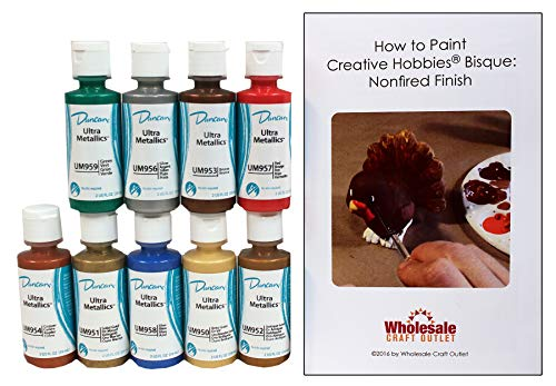 Duncan UMKIT-1 Ultra Metallic Colors Acrylic Paint Set, 9 Best Selling Colors in 2 Ounce Bottles with Free How To Paint Ceramics Book