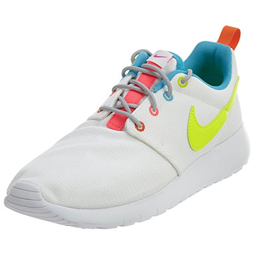 Nike Roshe Run, Hi-Top Sneakers fille White/Volt-racer Pink