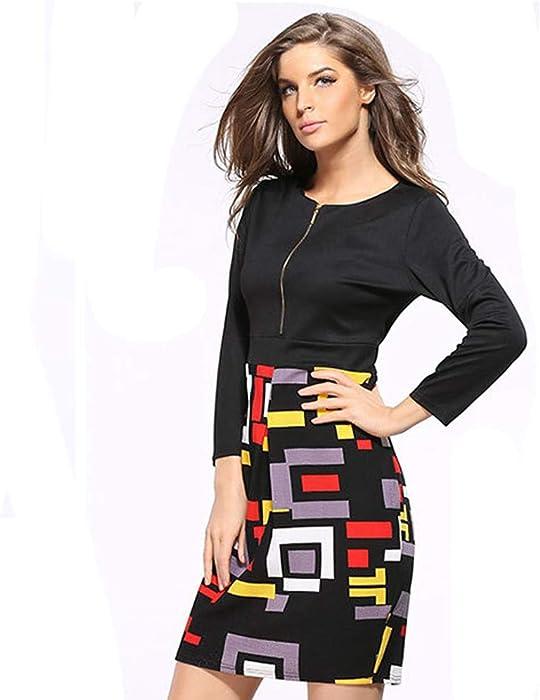 Fashion Print Patchwork Kleider, Frauen Casual Langarm Arbeit O-Neck  Reißverschluss Sexy Kleid 23c00f1bf7