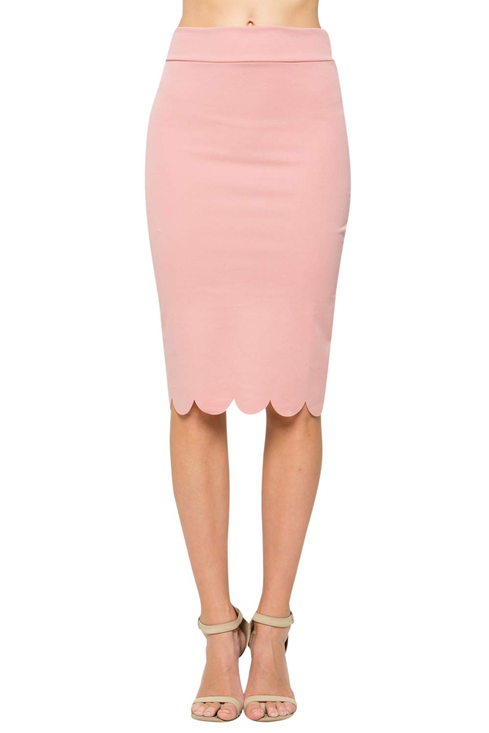 Junky Closet Women's Scallops Knee Length High Waisted Pencil Skirt (Made in USA) (1X-Large, 3635CLAF Dusty Pink) by Junky Closet (Image #1)