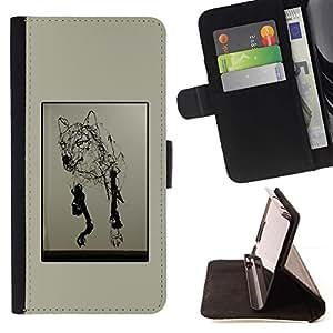 Momo Phone Case / Flip Funda de Cuero Case Cover - Lobo Arte del dibujo de lápiz del perro salvaje Moderno - Sony Xperia M4 Aqua
