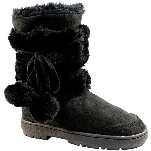 Pom Womens invernale pelliccia 4 Boots impermeabile Completamente Snow Pom allineato Nero 5qqFOw