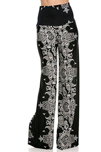 Plus Size High Waist Foldover Boho Palazzo Pants (3XL, Bandana Black)
