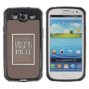 Suave TPU Caso Carcasa de Caucho Funda para Samsung Galaxy S3 I9300 / God Christian Pray Love Beige Religion Bible / STRONG