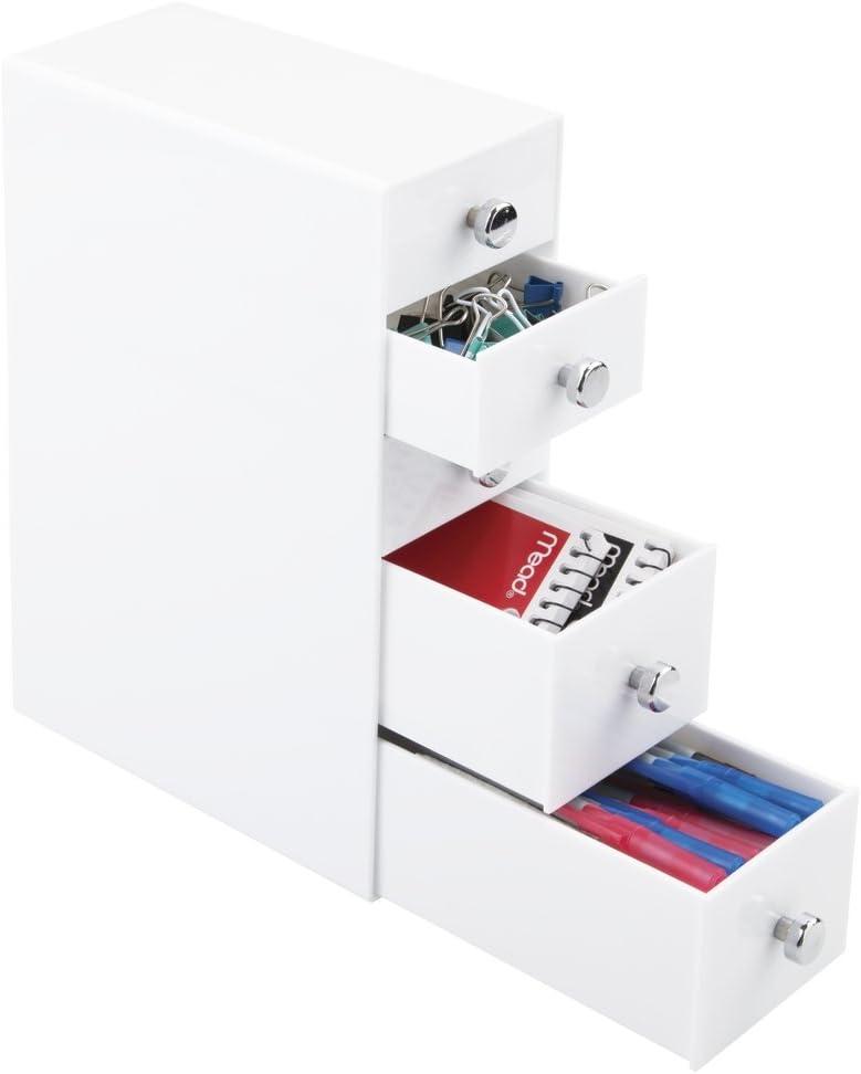 Pr/áctico accesorio para conseguir el orden en el escritorio mDesign Organizador con cajones Color: blanco Ideal organizador para bol/ígrafos de escritorio con 3 cajones peque/ños y 2 grandes