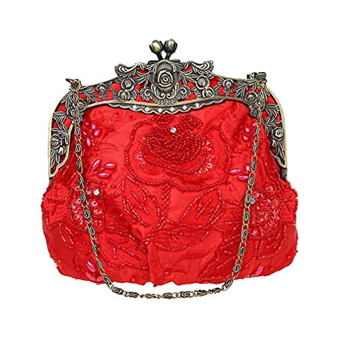 Evening Clutch Women Handbag Beaded Handmade Flap Party Tea Chain Wedding Shoulder Ladies Luxury Rose Green Bag UEHwEp