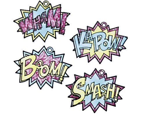 24 Superhero Words Plastic Suncatchers for Kids Glass Painting - Super Suncatcher