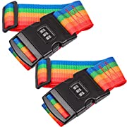 2 Pack Suitcase Luggage Straps with Lock & Buckle, Adjustable Rainbow Straps with 3-Digit Password Lock, Secure Travel…