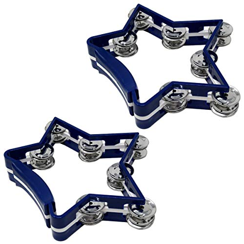 2-Pack Musical Tambourine Star Shape Percussion Drum 7 Double Row Metal Jingles Blue
